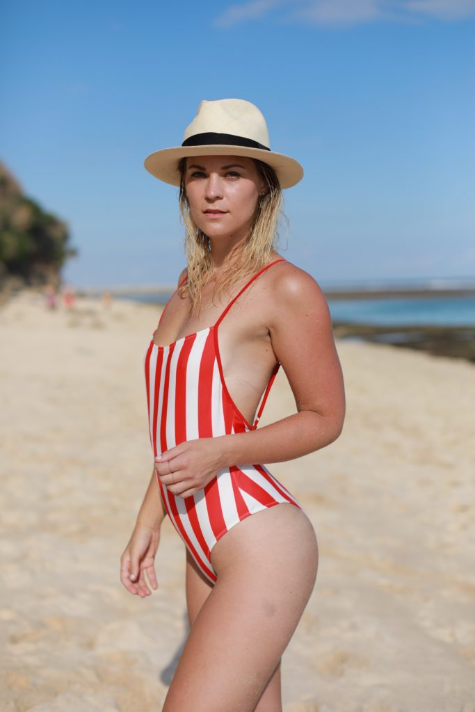 red striped one-piece beach
