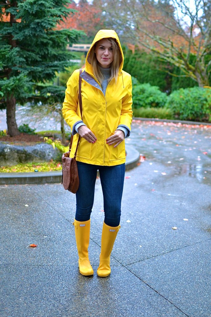 How to wear a yellow raincoat, tips featured by top Seattle fashion blogger, Whit Wanders: image of a blonde woman wearing a Forever21 yellow raincoat