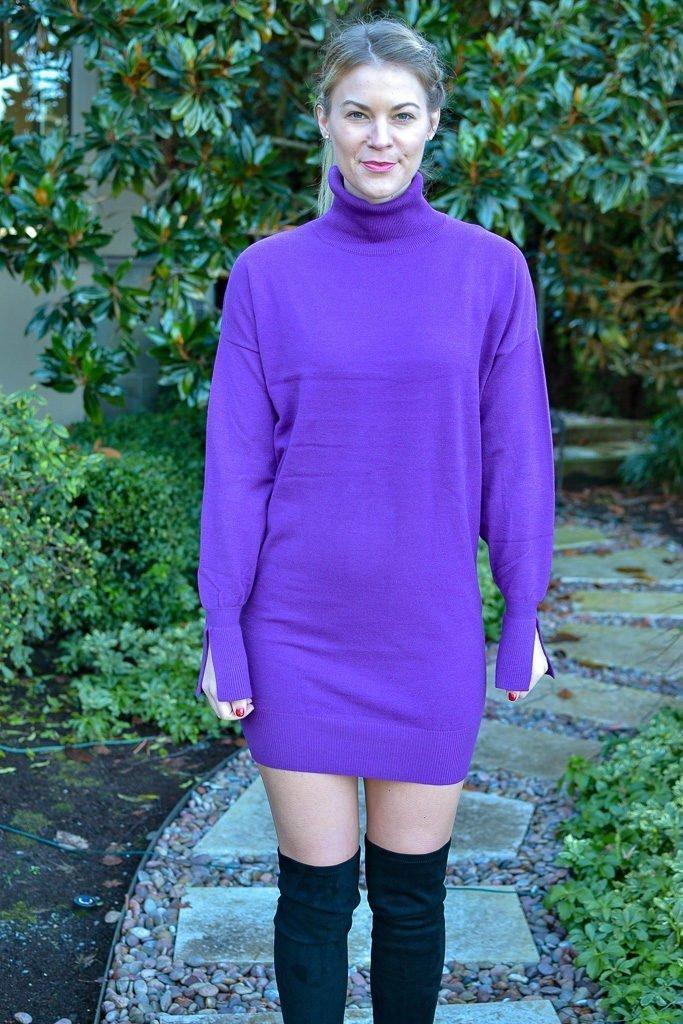 purple sweater dress
