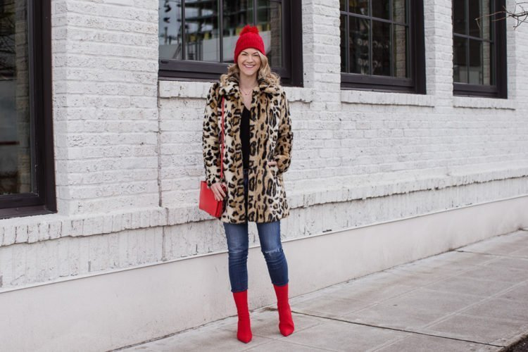 leopard coat red ankle boots