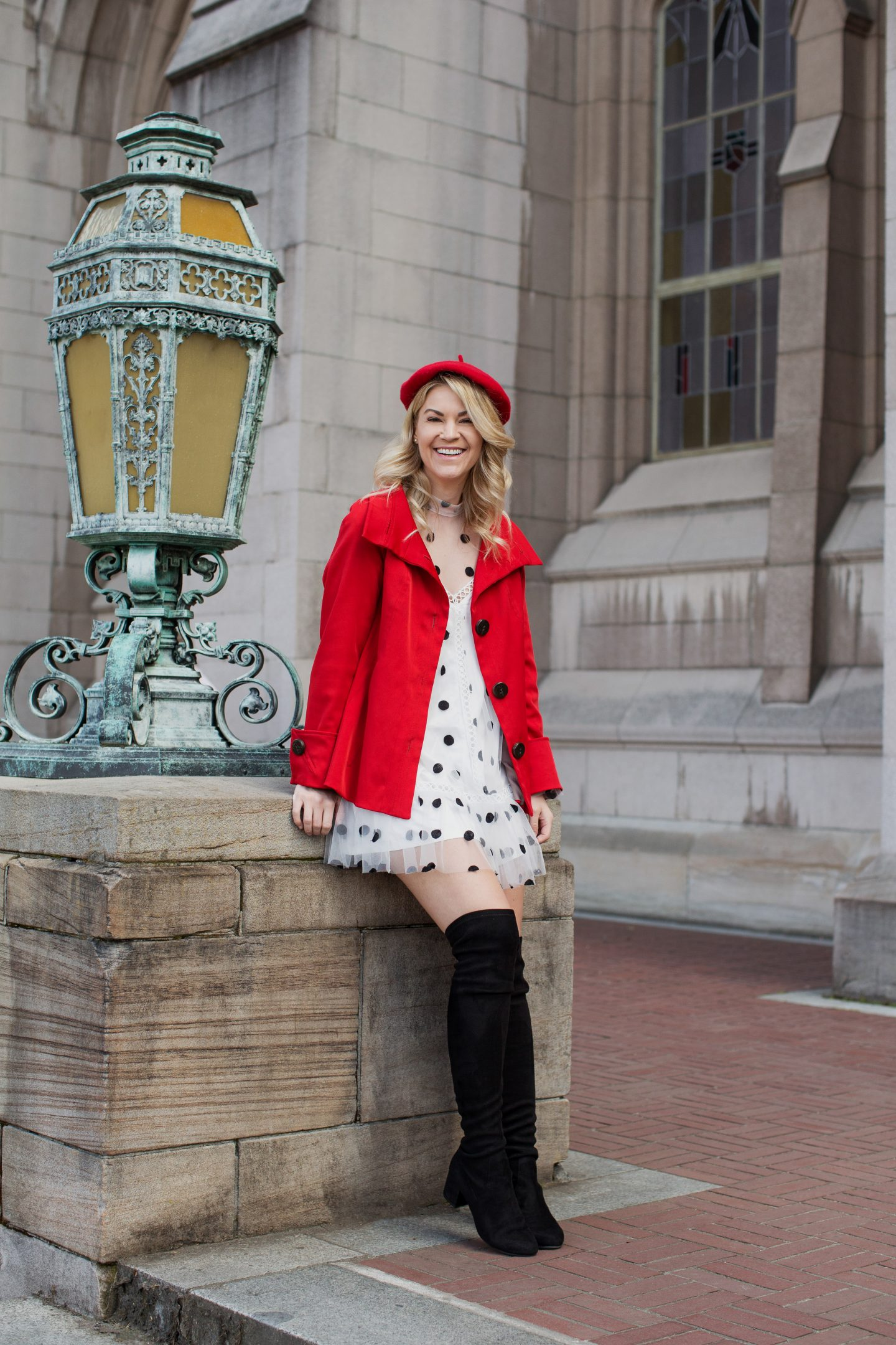 zara red polka dot dress otk boots