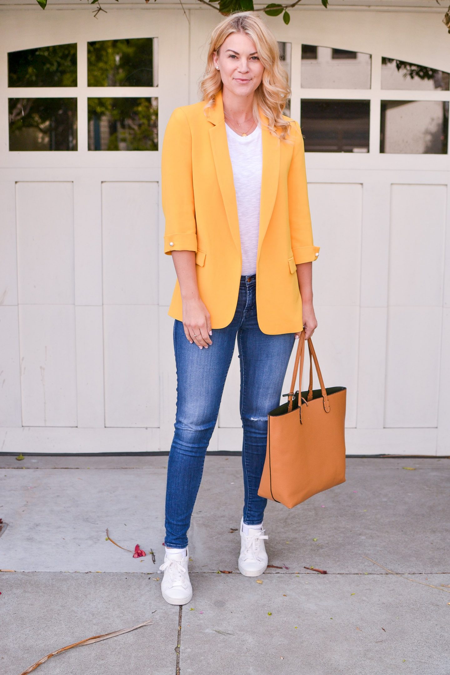 yellow blazer white tee outfit