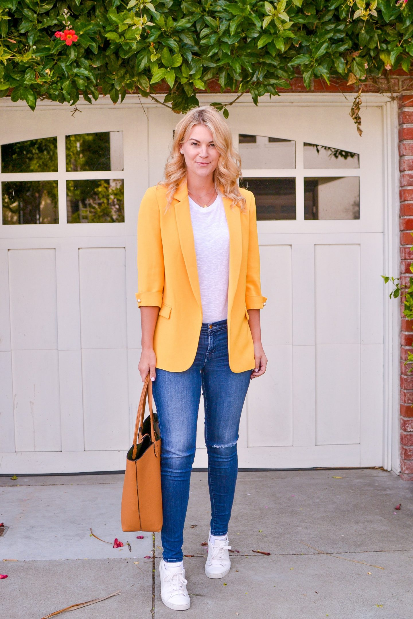 Yellow Blazer and White Tee