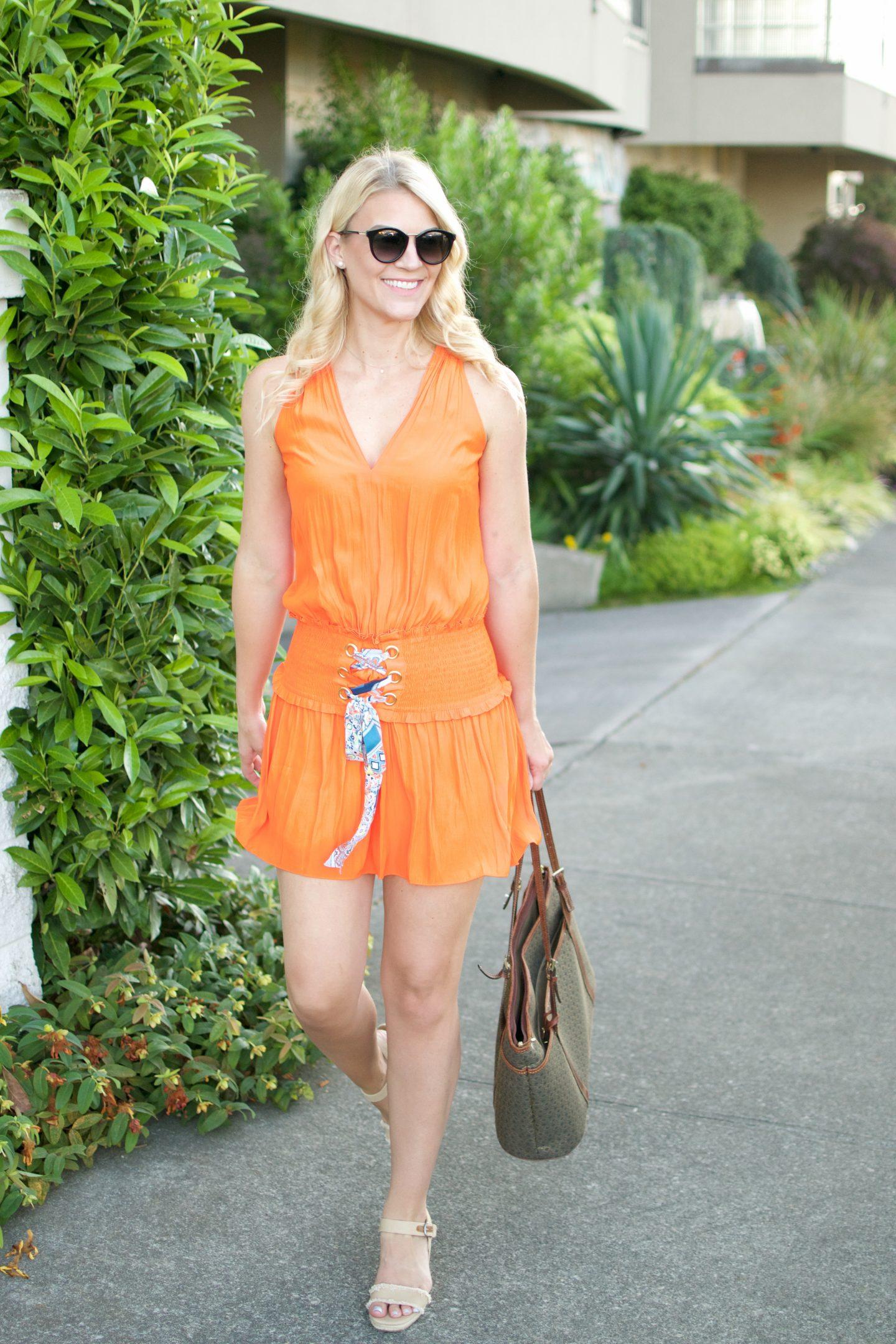 Tropical Orange Mini-Dress & $500 Giveaway