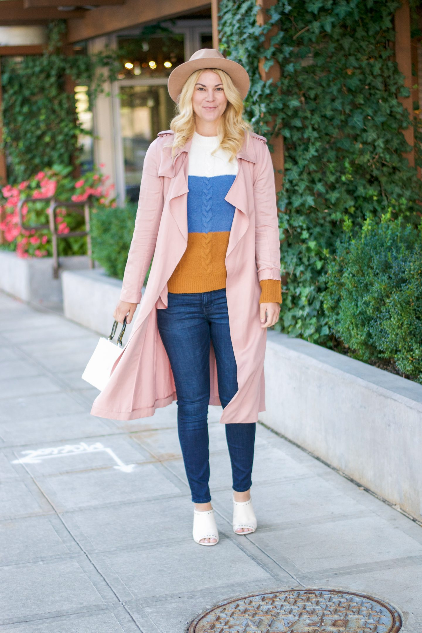 Fall Trench Coat & Cable Knit Sweater