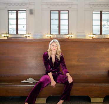 Purple Velvet Suit styled by top Seattle tall fashion blogger, Whit Wanders: image of a blonde woman wearing a Zara purple velvet suit.