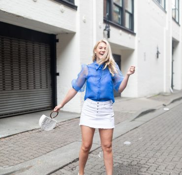 Zara white denim skirt styled with a blue chiffon blouse by Seattle tall fashion blogger, Whit Wanders.