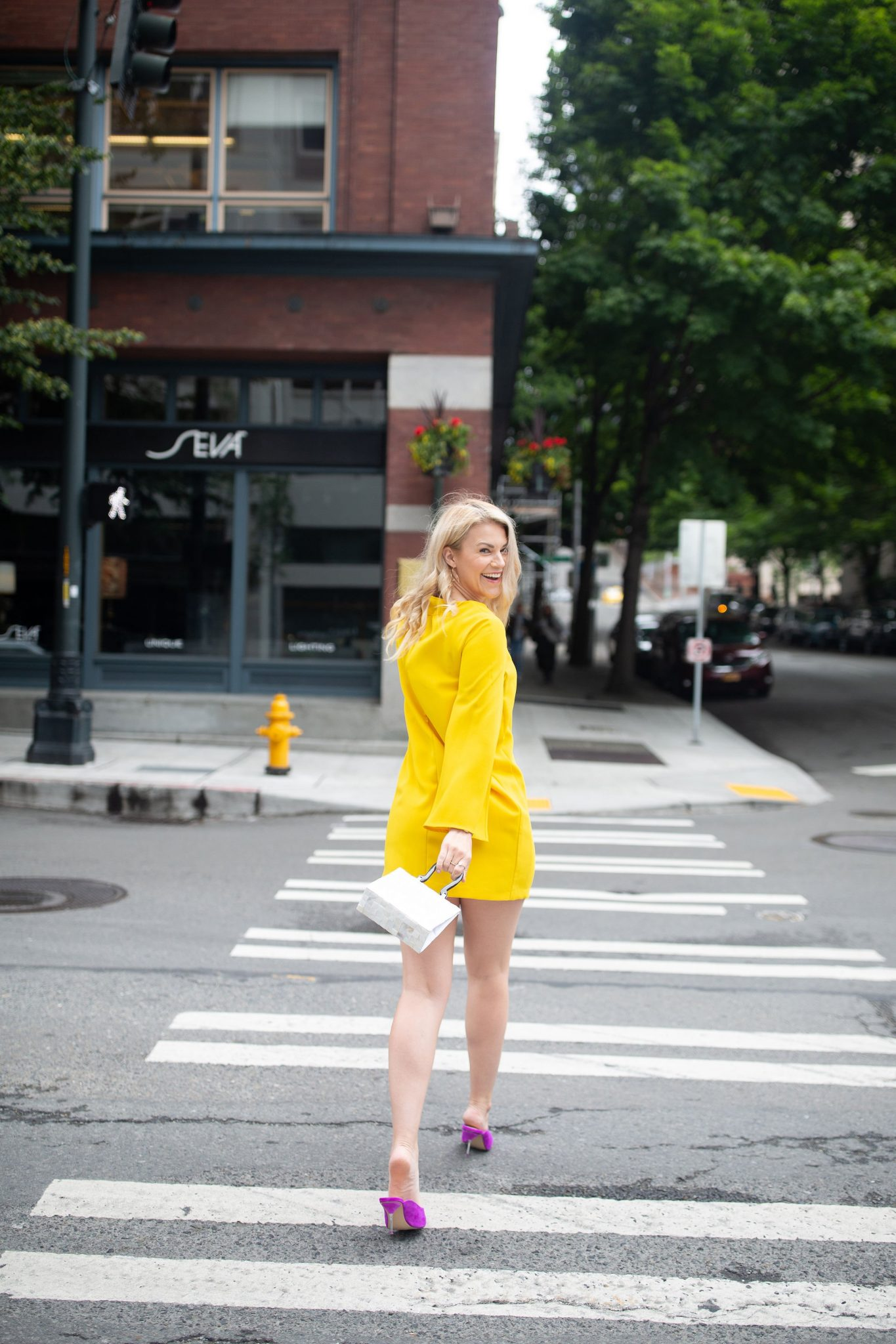Zara Yellow Cape Dress + Pink Mules styled by top Seattle tall fashion blogger, Whit Wanders.