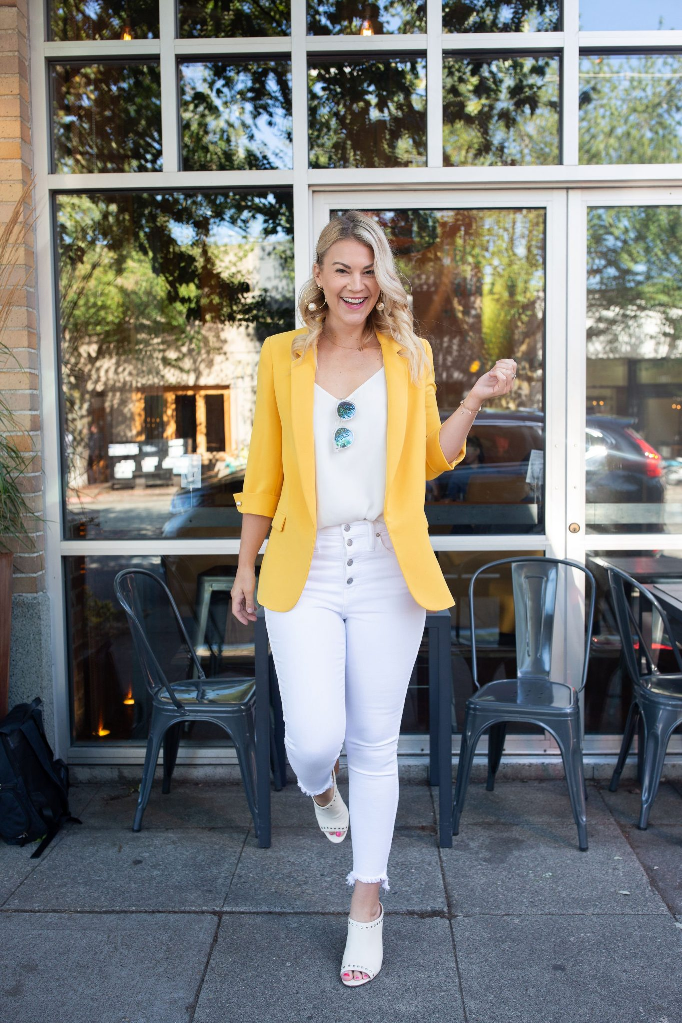 outfit idea for yellow blazer