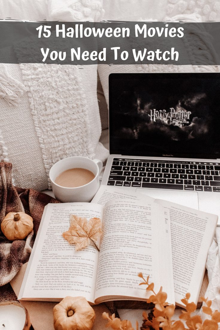 Halloween Movies by popular Seattle lifestyle blog, Whit Wanders: Pinterest image of an open book, laptop, and cup of coffee.