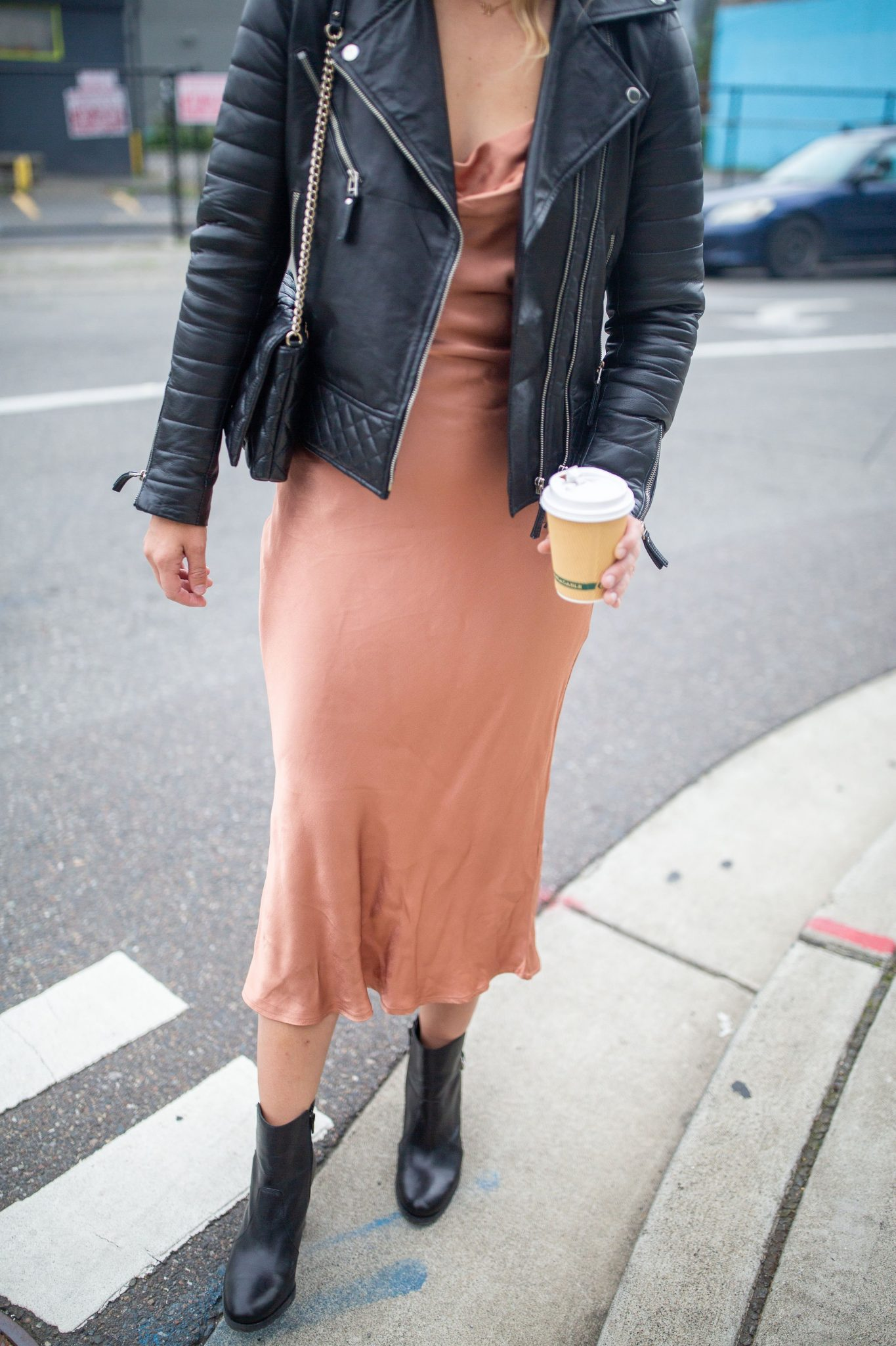 Bardot Slip Dress Styled for Fall by top Seattle tall fashion blogger, Whit Wanders