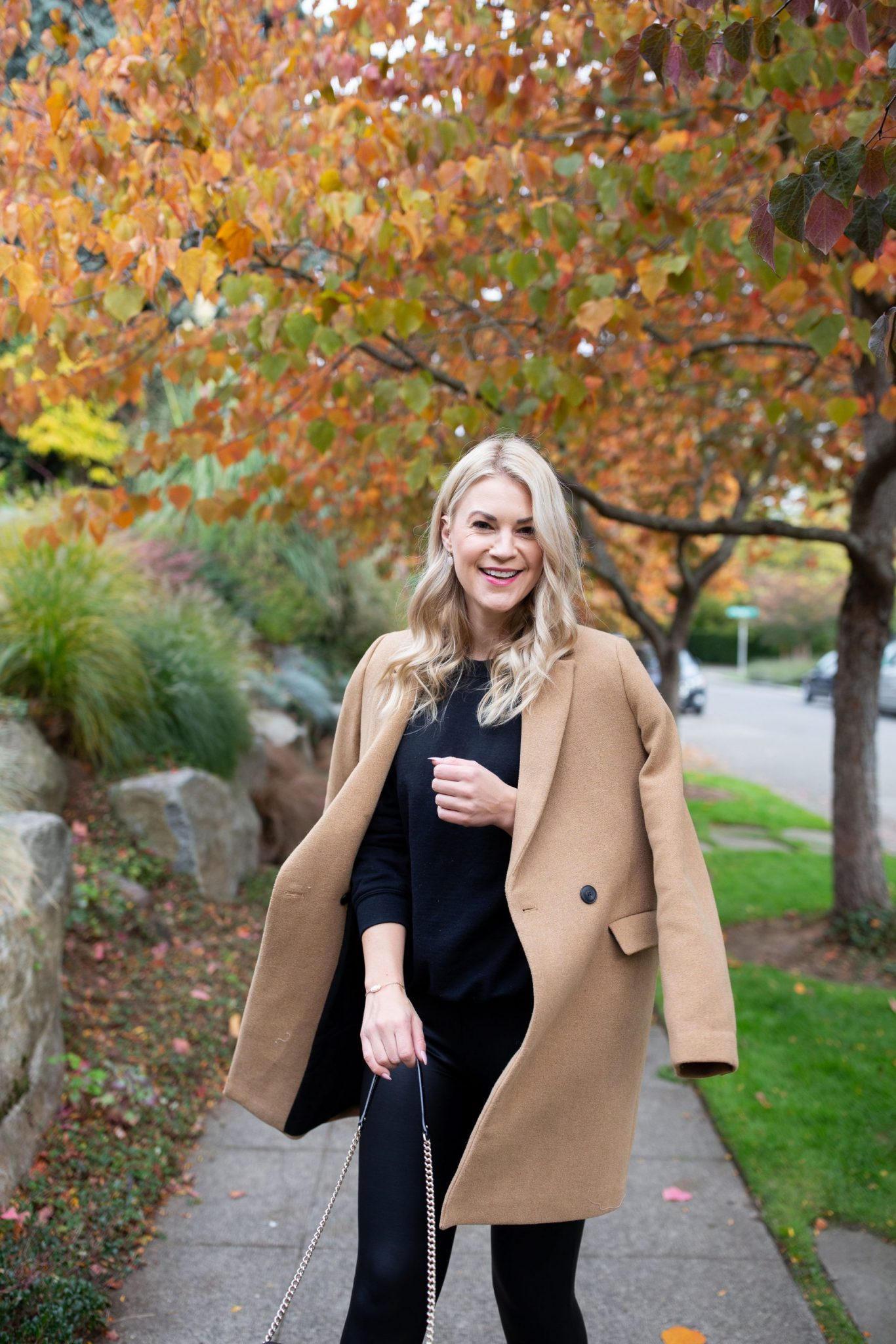 Zara Camel Coat styled for Winter by top Seattle tall fashion blogger, Whit Wanders.