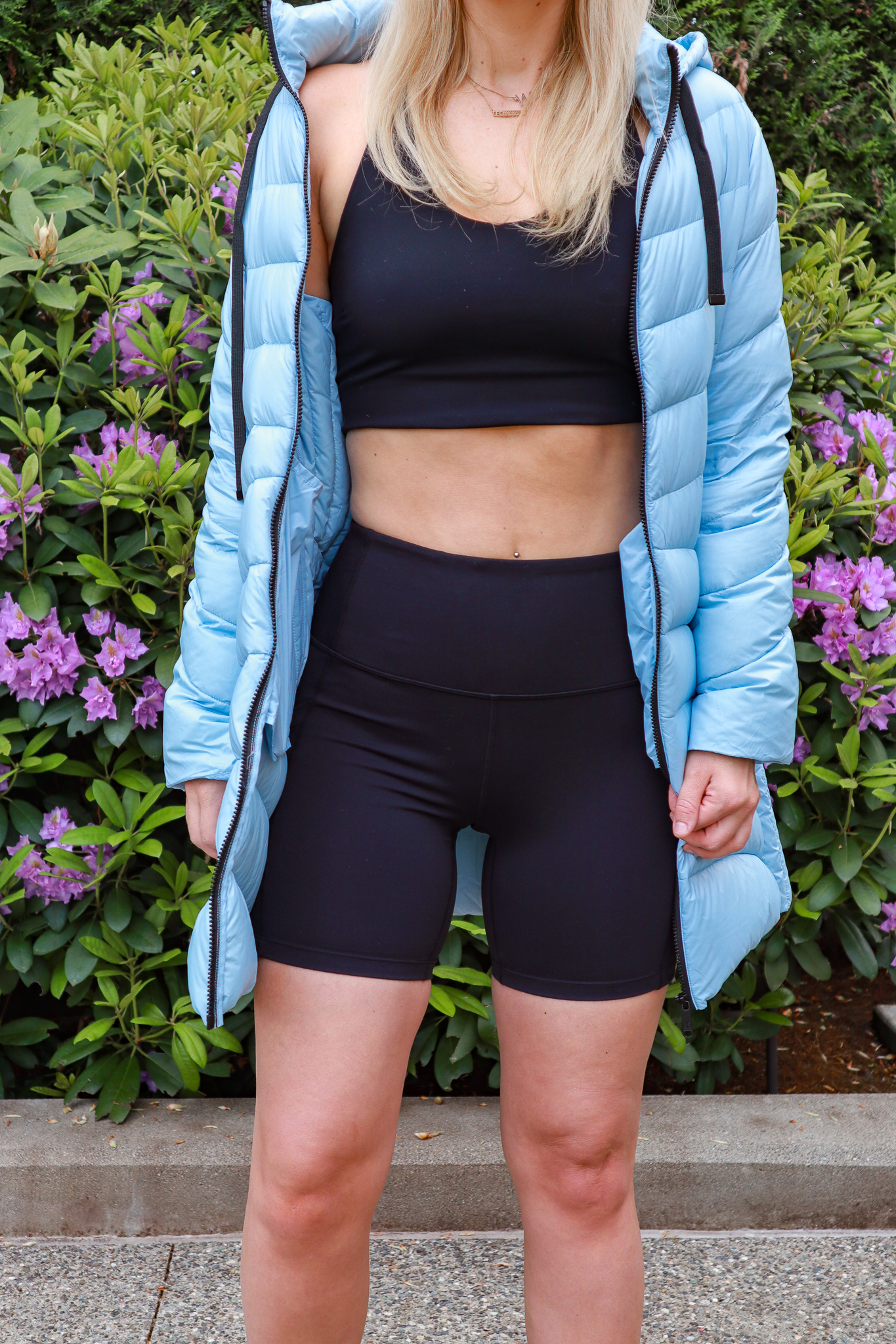 How to wear the Bike Shorts Trend, styling tips featured by top Seattle tall fashion blogger, Whit Wanders: image of a woman wearing Zella biker shorts