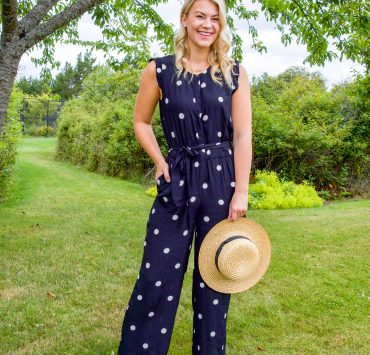 Talbots Polka Dot Jumpsuit styled by top Seattle fashion blogger, Whit Wanders.
