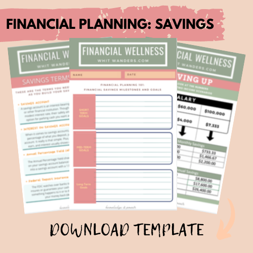 Saving Strategies by popular Seattle lifestyle blog, Whit Wanders: image of a financial planning template.