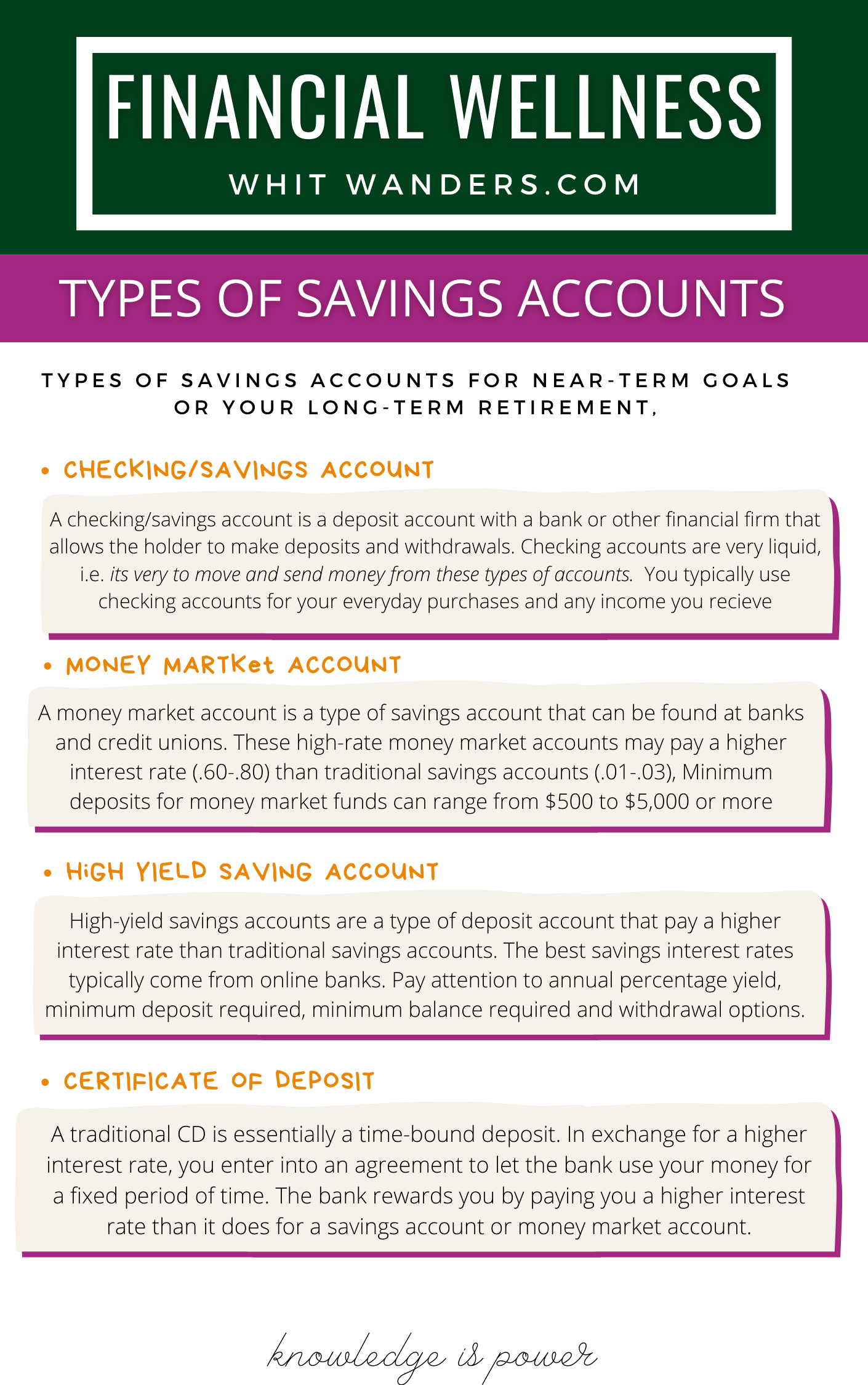 Types of Savings accounts by popular Seattle career blog, Whit Wanders: image of a digital Types of Savings Accounts information sheet.