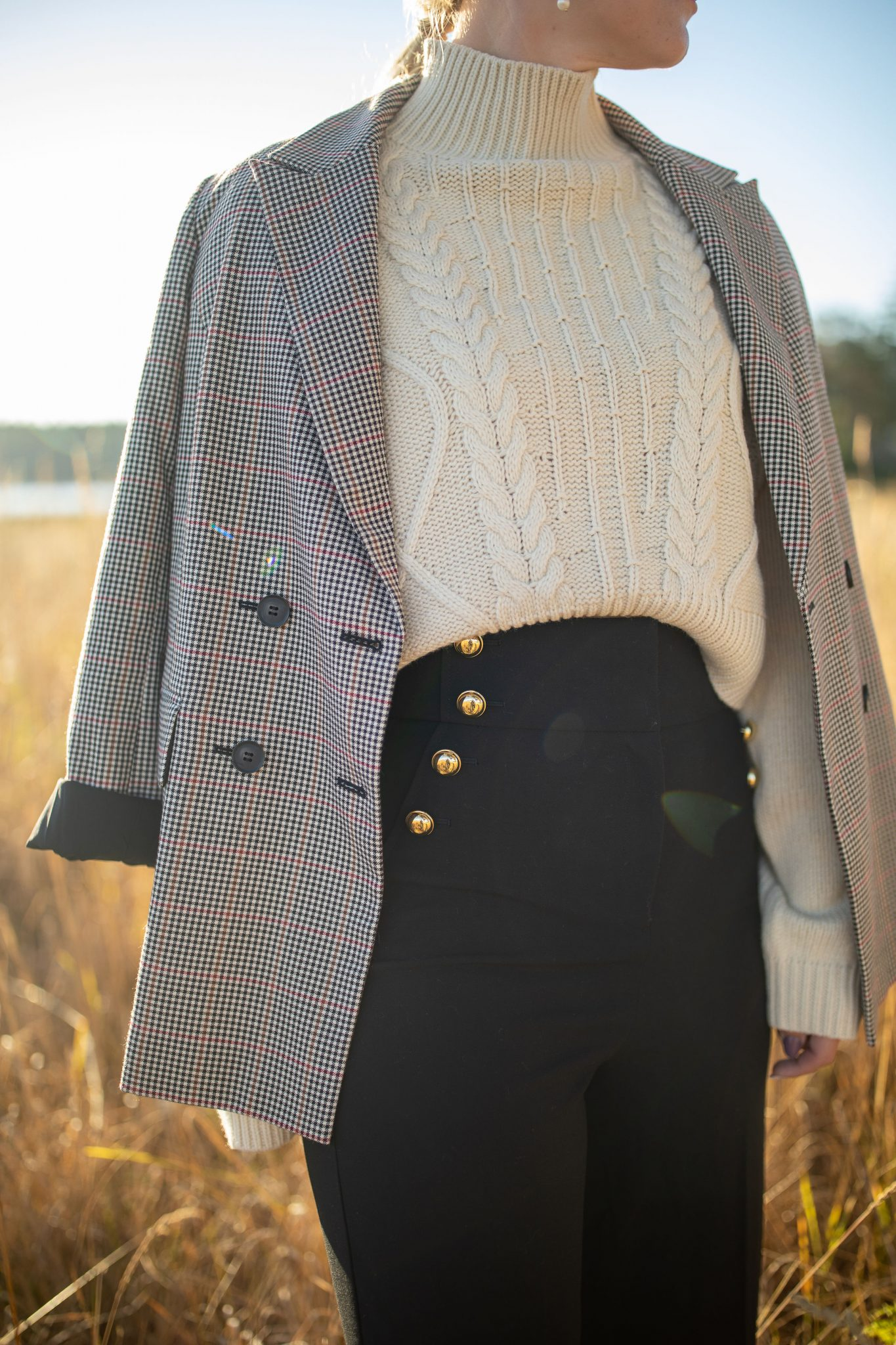 Plaid Blazer by Seattle tall fashion blog, Whit Wanders: image of a woman standing in a field and wearing a Nordstrom plaid blazer, Atlantic-Pacific Halogen trousers, and Topshop turtleneck.