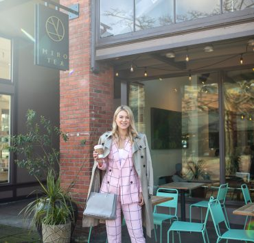 ASOS Pink Suit styled for work by top Seattle tall fashion blogger, Whit Wanders