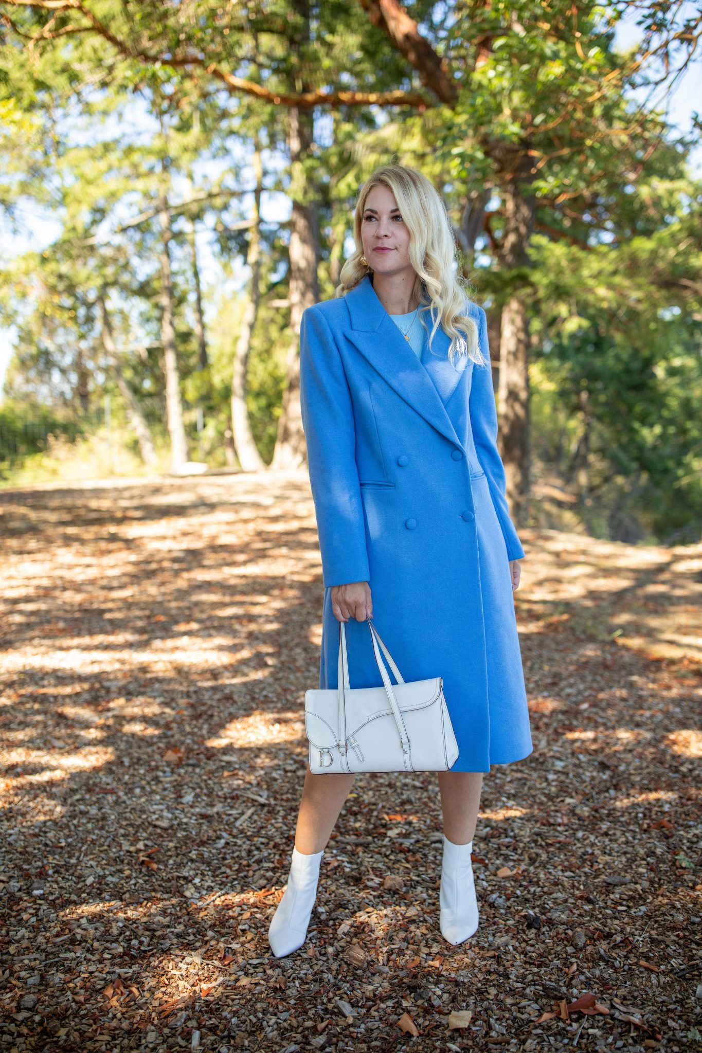 Wool Coat by Seattle tall fashion blog, Whit Wanders: image of a woman standing outside and wearing a  Ave Les Fille Wool Coat via Nordstrom, Zara Bodycon Dress, Booties by Guess, and holding a Dior Purse.