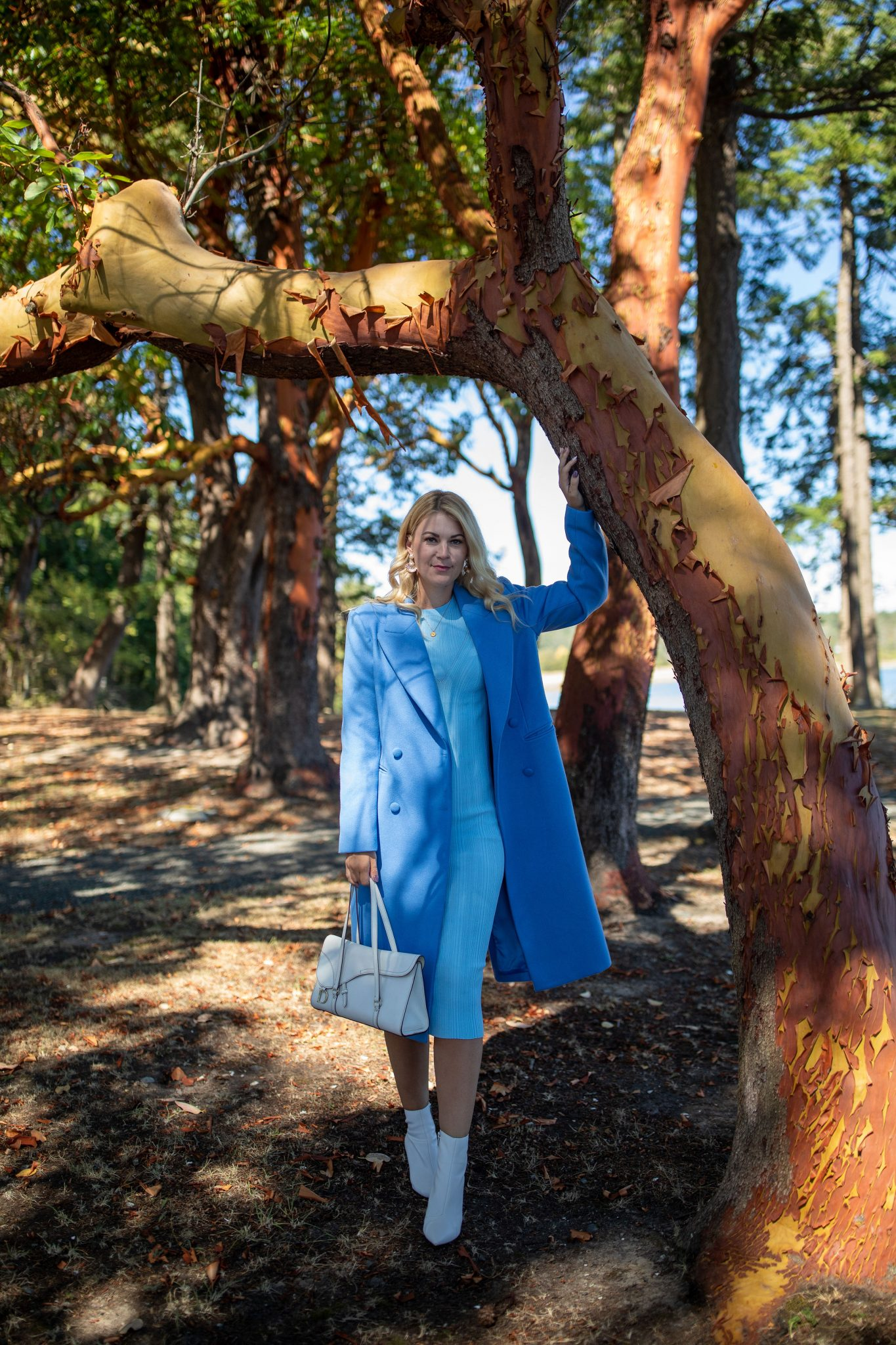 Wool Coat by Seattle tall fashion blog, Whit Wanders: image of a woman standing by a tree and wearing a  Ave Les Fille Wool Coat via Nordstrom, Zara Bodycon Dress, Booties by Guess, and holding a Dior Purse.