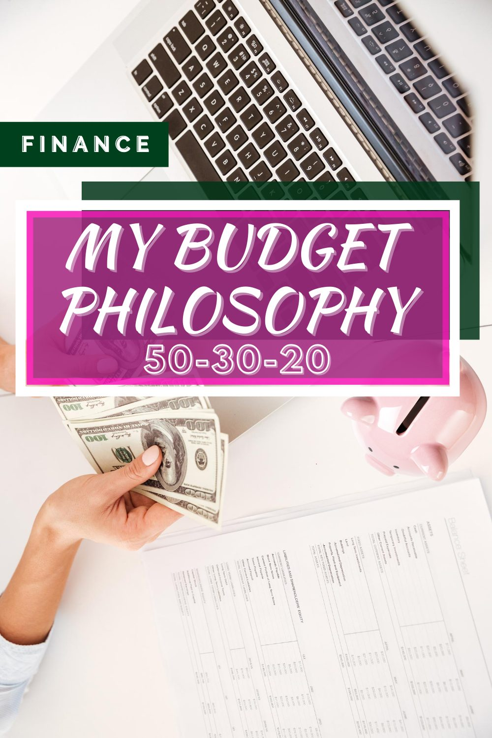 Budgeting Strategies by popular Seattle lifestyle blog, Whit Wanders: Pinterest image of a woman holding money and filling out a budgeting sheet.