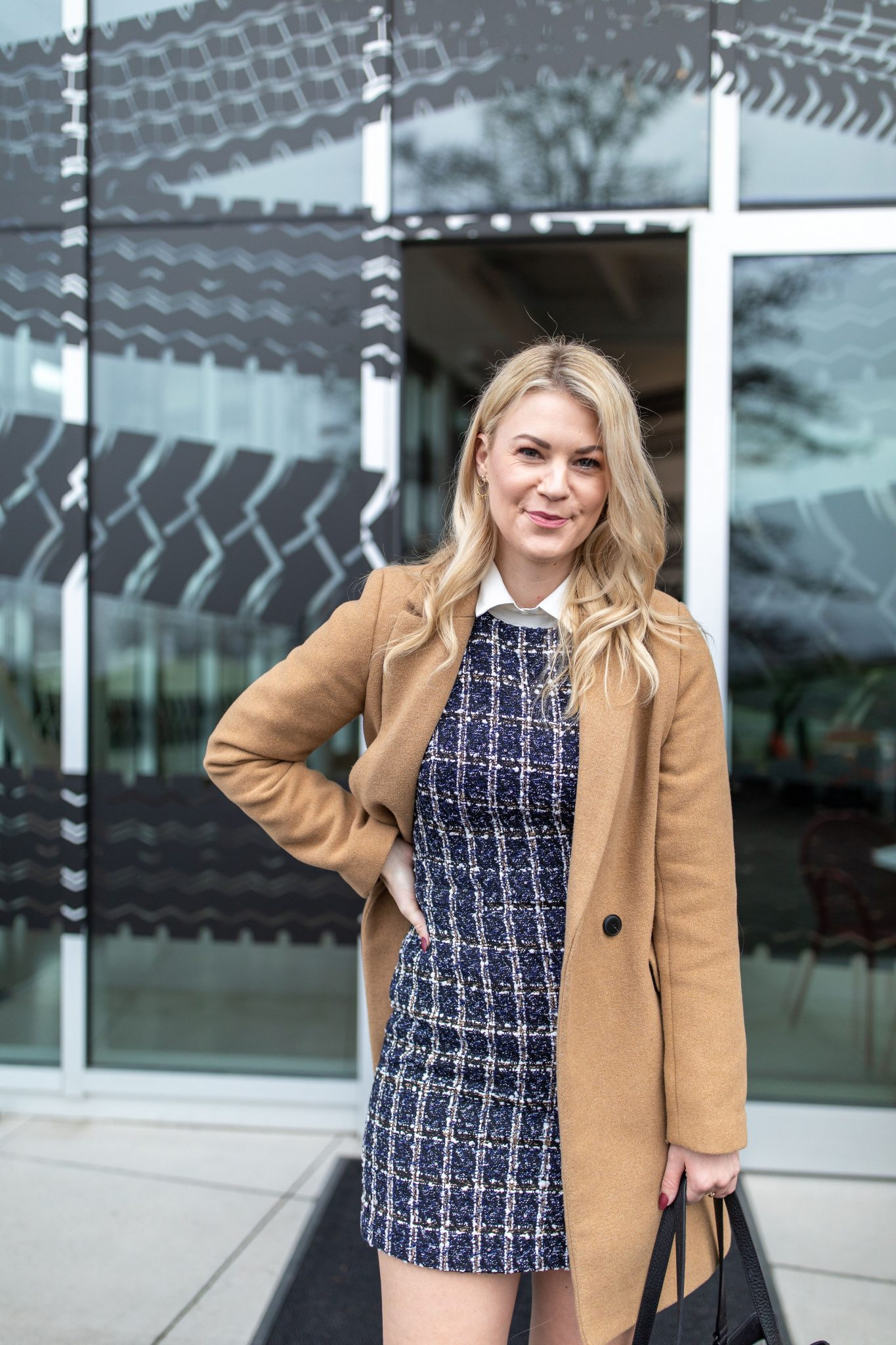 New Job by popular Seattle lifestyle blog, Whit Wanders: image of a woman wearing a tweed dress and tan wool coat.