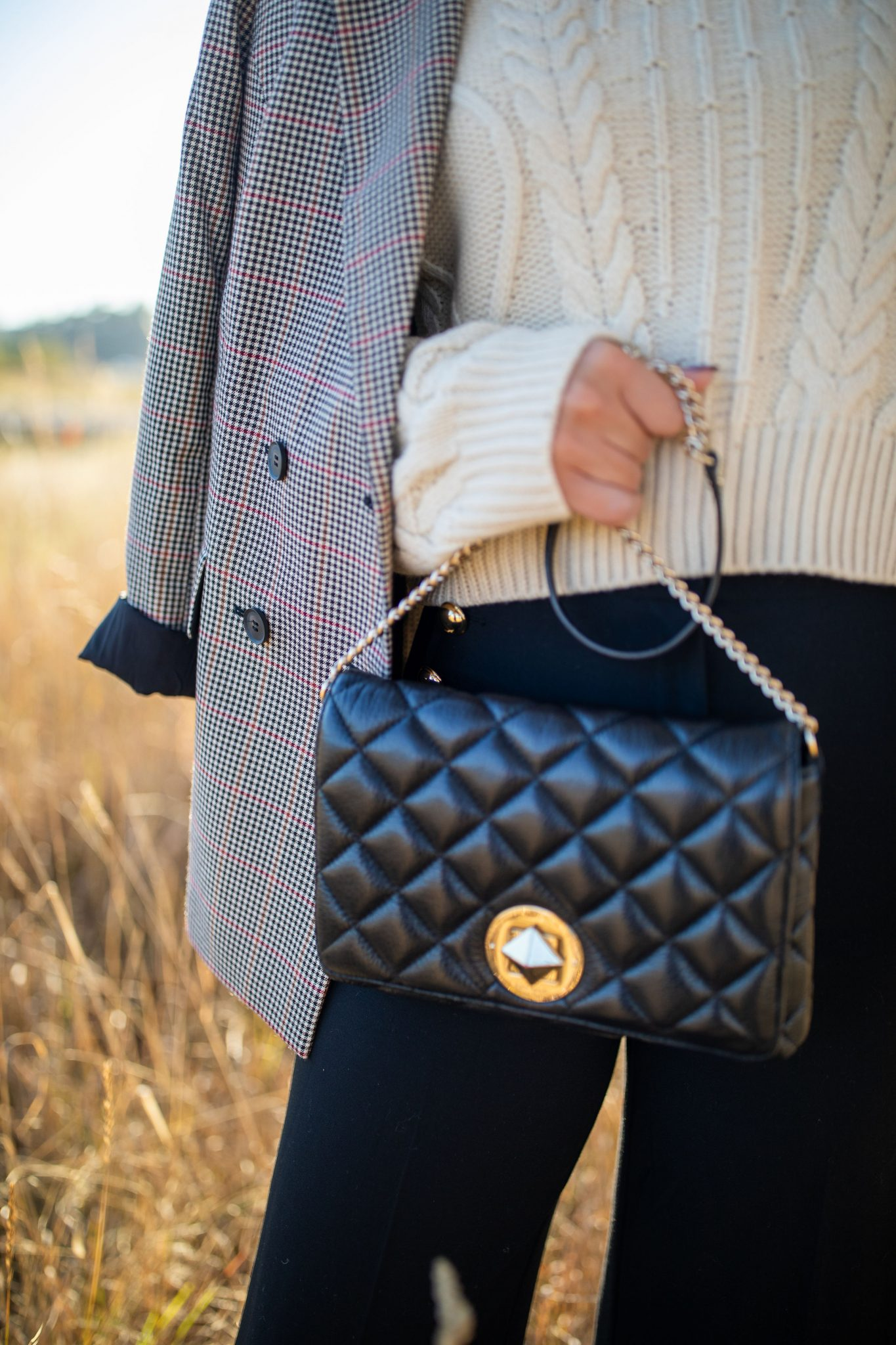 Plaid Blazer by Seattle tall fashion blog, Whit Wanders: image of a woman standing in a field and wearing a Nordstrom plaid blazer, Atlantic-Pacific Halogen trousers, Topshop turtleneck, and holding a Kate Spade tote.