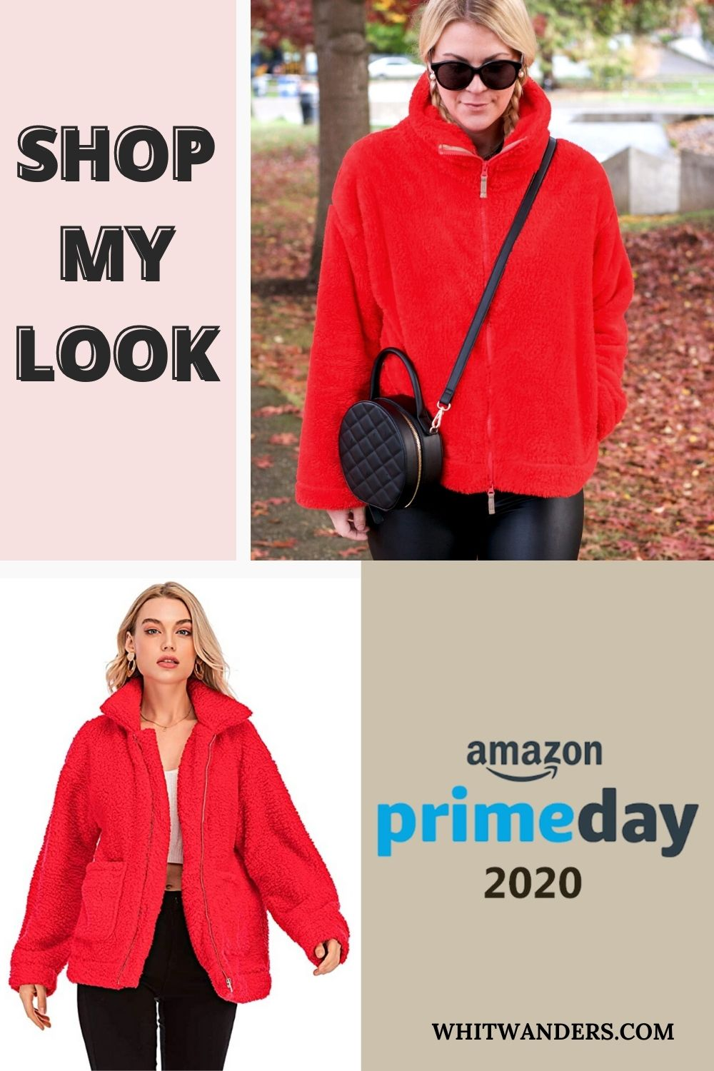 Prime Day by popular Seattle life and style blog, Whit Wanders: Pinterest image of a woman wearing a red wubbly fleece jacket and carrying a black round circular crossbody bag.