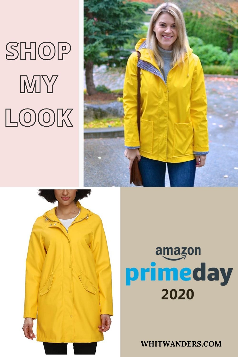 Prime Day by popular Seattle life and style blog, Whit Wanders: Pinterest image of a woman wearing a yellow rain jacket.