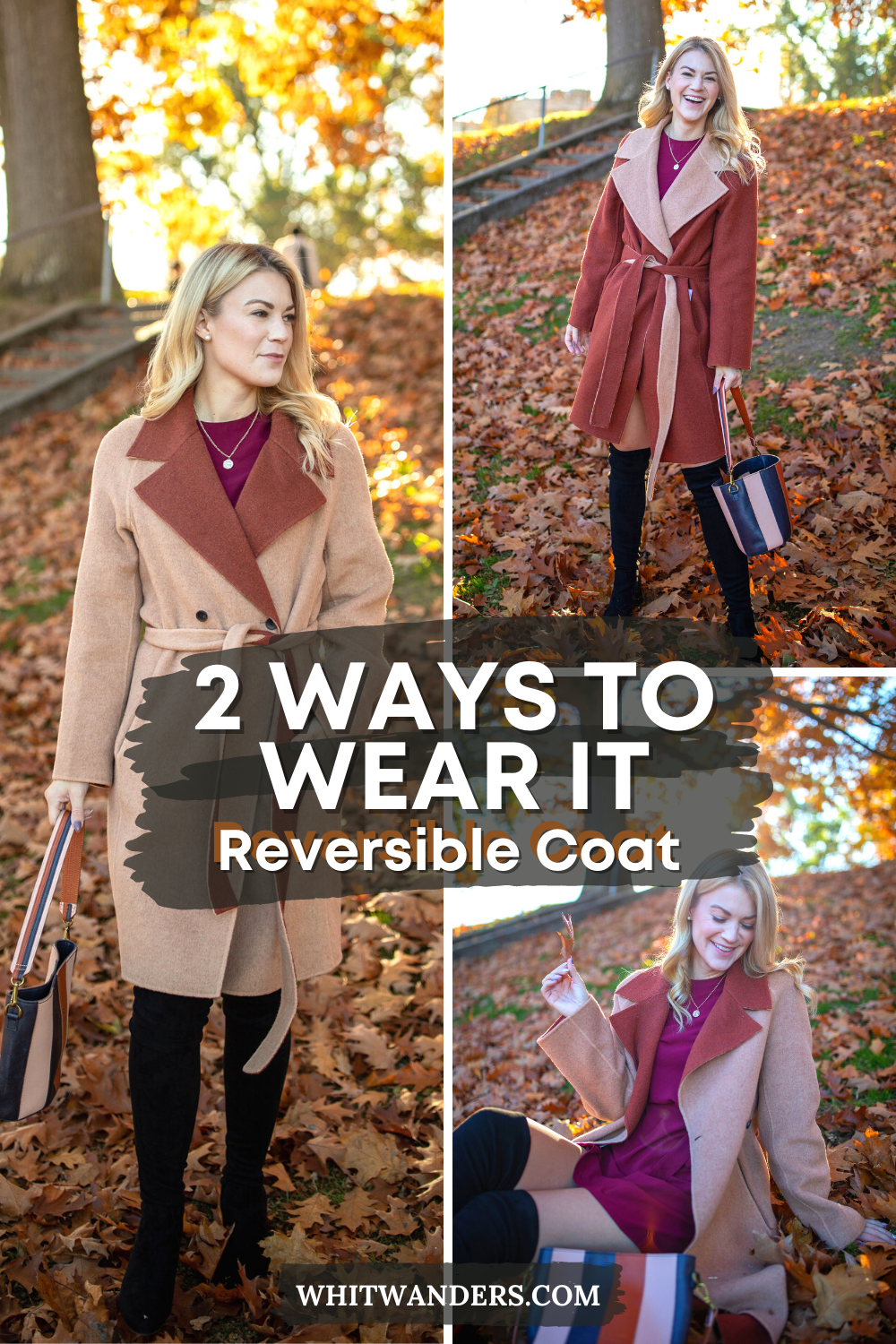 Fall Coat by popular Seattle tall fashion blog, Whit Wanders: Pinterest image of a woman wearing a M.M LaFleur Cleo Coat c/o, LuLu Burgundy Dress, OKT Boots from Nordstrom, and holding a Madewell purse.