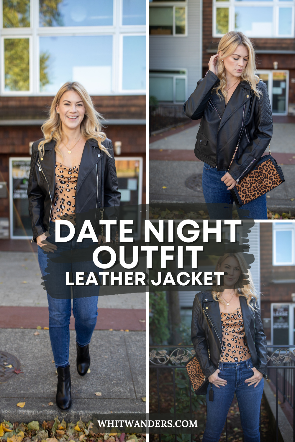 Leather Jacket by popular Seattle tall fashion blog, Whit Wanders: Pinterest image of a woman wearing a Express Leather Jacket, Nastygal cami, Madewell jeans, Ralph Lauren Black Booties, and holding a Sole Society Purse.