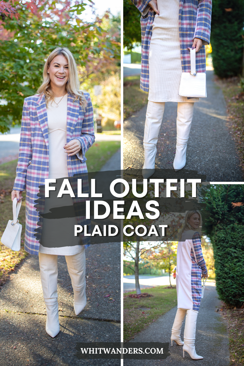 White Dress by popular Seattle tall fashion blog, Whit Wanders: Pinterest image of a woman standing outside on a sidewalk and wearing a white dress, white otk boots, and a pink, blue, yellow, and white plaid wool jacket.