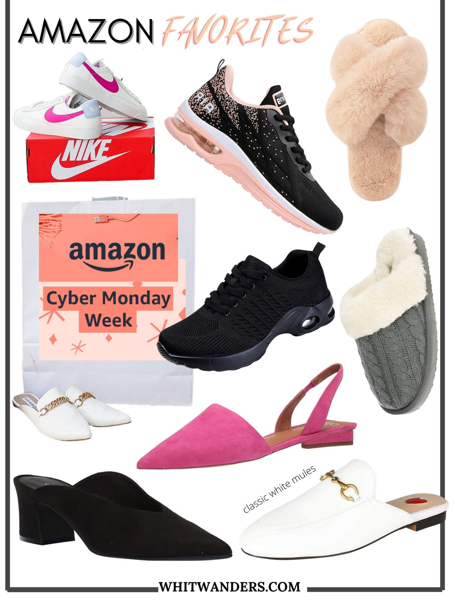 Amazon Cyber Monday Sales by popular Seattle life and style blog, Whit Wanders: collage image of nike shoes, slippers, and mules.