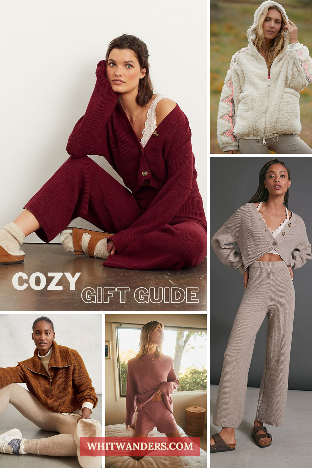 Cozy Gifts by popular Seattle tall fashion blog, Whit Wanders: collage image of women wearing fleece hoodies and sweater loungewear sets,