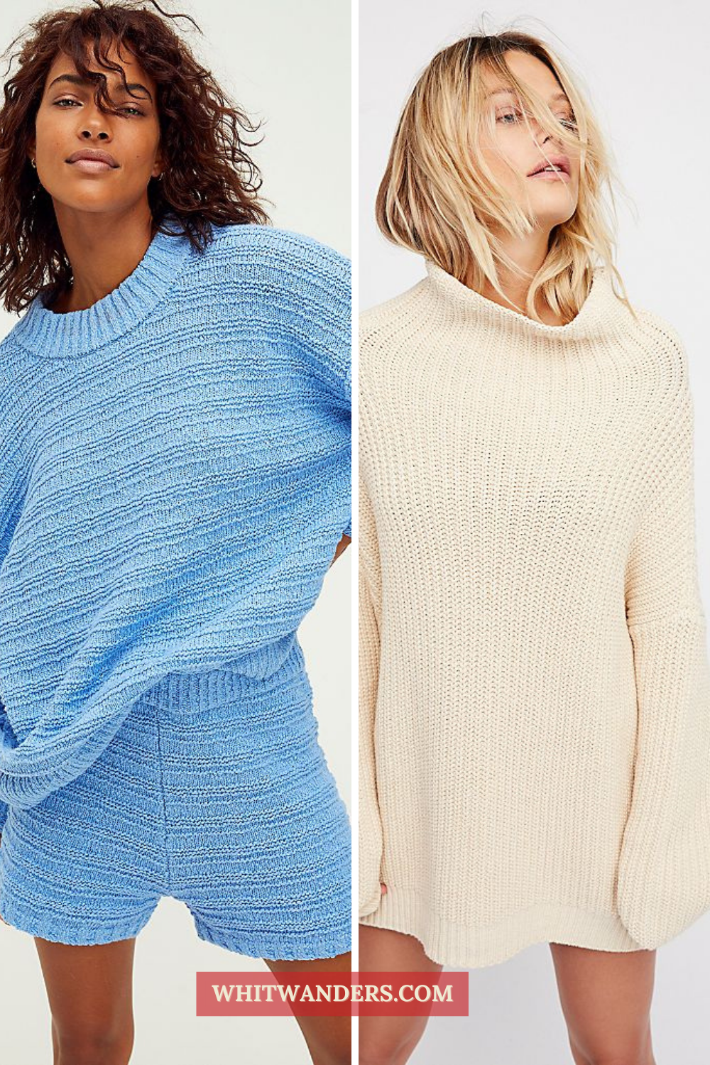 Cozy Gifts by popular Seattle tall fashion blog, Whit Wanders: collage image of two women wearing an oversized ribbed sweater.