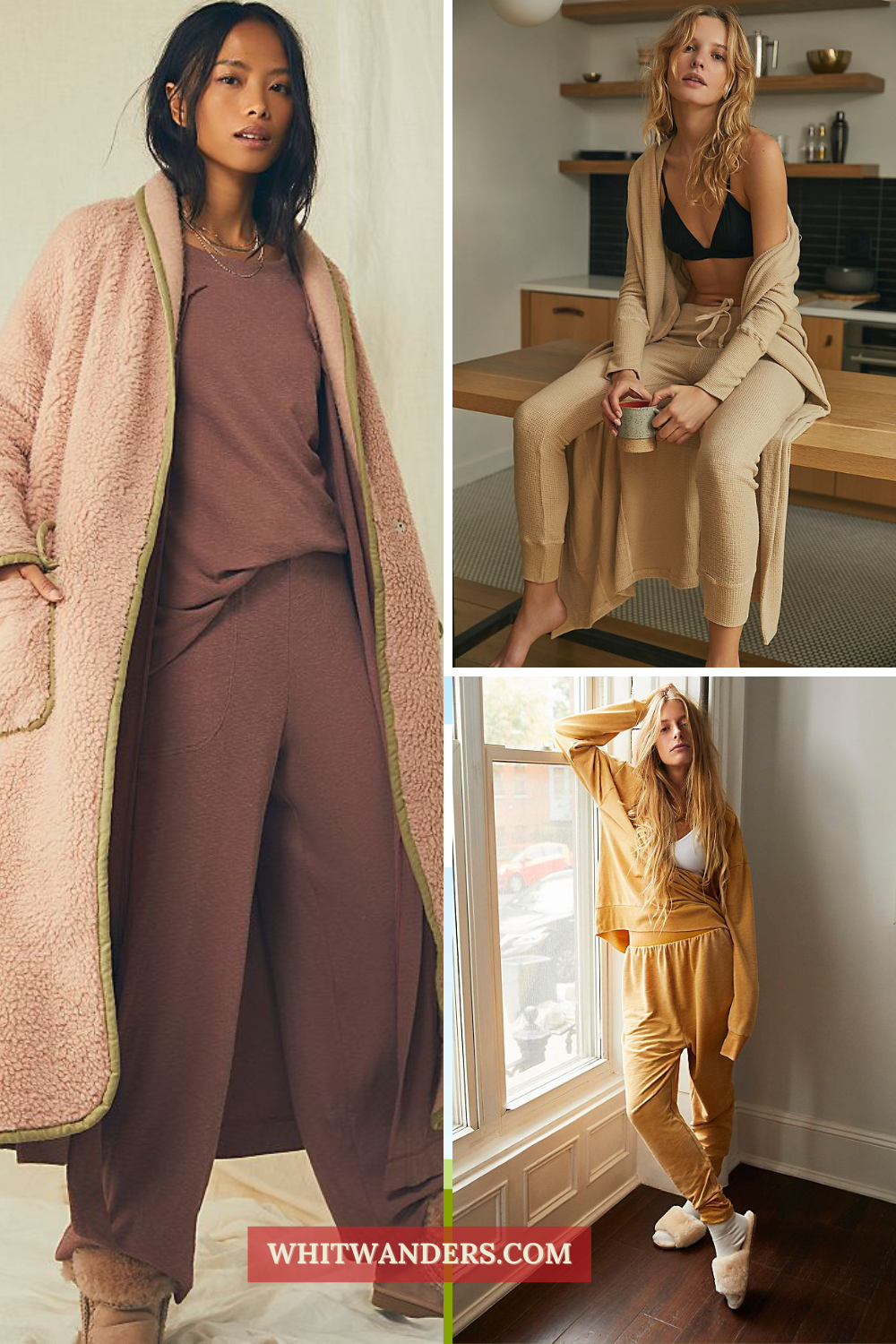 Cozy Gifts by popular Seattle tall fashion blog, Whit Wanders: collage image of women wearing jogger pants and cardigans.