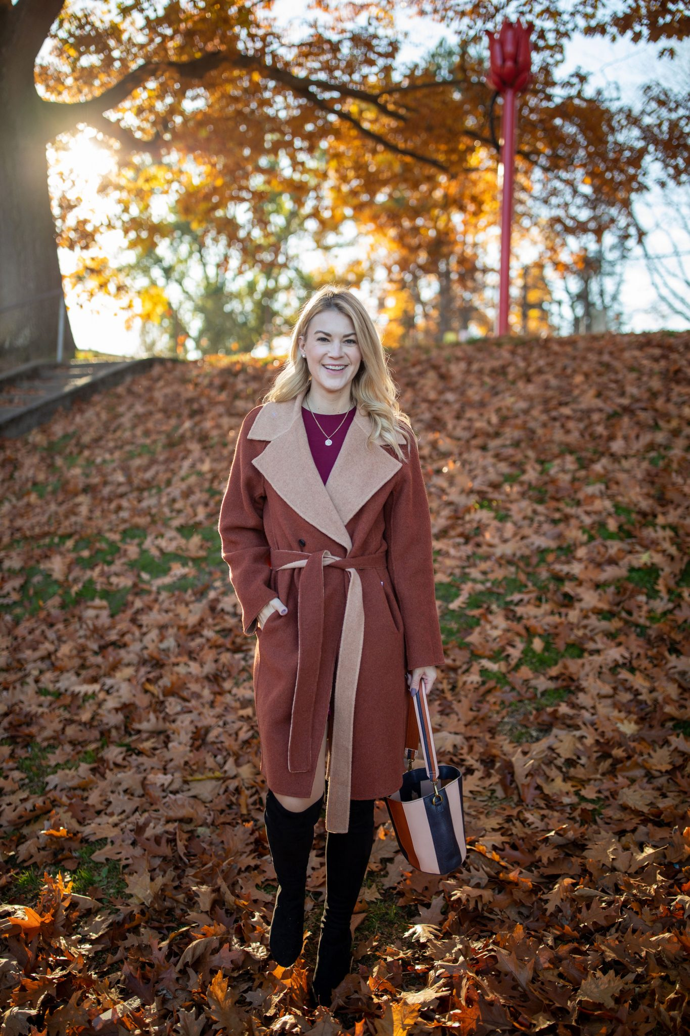 Fall Coat by popular Seattle tall fashion blog, Whit Wanders: image of a woman wearing a M.M LaFleur Cleo Coat c/o, LuLu Burgundy Dress, OKT Boots from Nordstrom, and holding a Madewell purse.