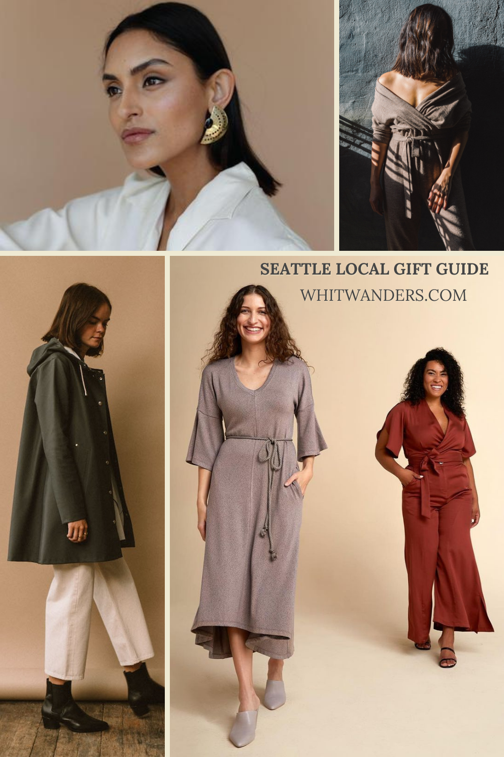 Shop Local by popular Seattle life and style blog, Whit Wanders: collage image of women wearing knit jumpsuits, large gold statement earrings, and a green jacket.