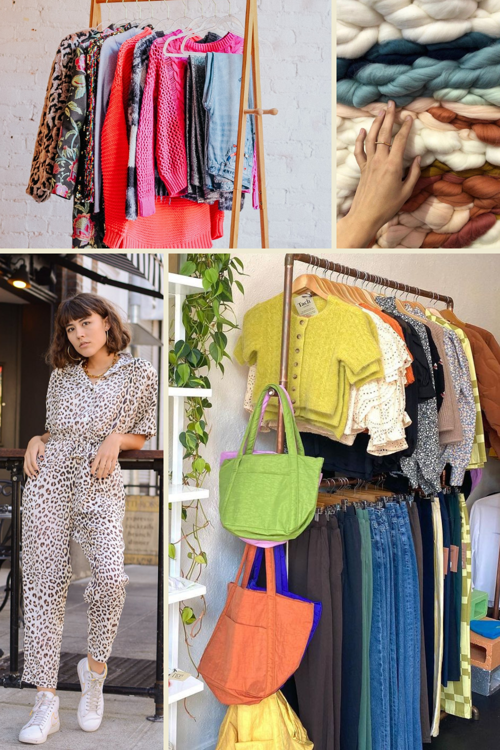 Shop Local by popular Seattle life and style blog, Whit Wanders: collage image of a woman wearing a leopard print jumpsuit and clothes hanging on portable clothing racks.