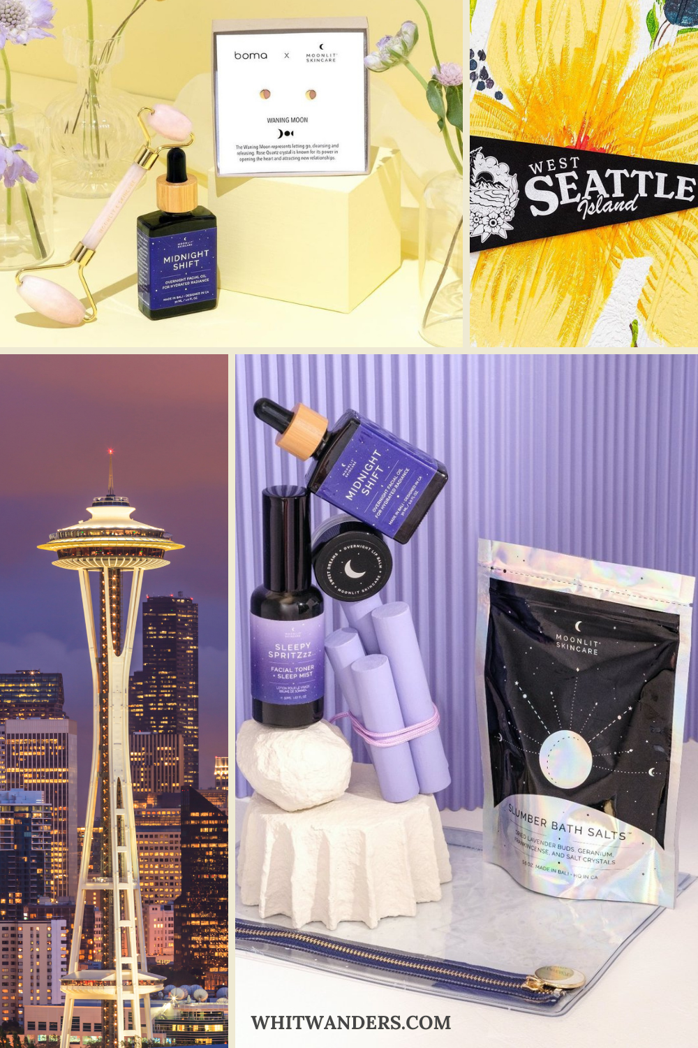 Shop Local by popular Seattle life and style blog, Whit Wanders: collage image of the Seattle Space Needle, Seattle pennant banner, rose quartz face roller, gold stud earrings, and Moonlit Skincare bath salts, sleepy spritz and overnight lip balm.