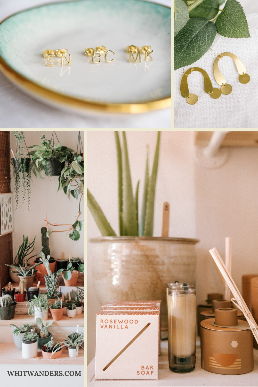Shop Local by popular Seattle life and style blog, Whit Wanders: collage image of gold earrings, succulent plants, candles, and incense.