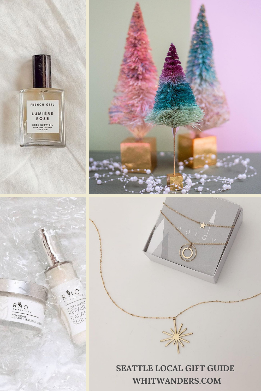 Shop Local by popular Seattle life and style blog, Whit Wanders: collage image of perfume, Nordy gold necklaces, bottle brush Christmas trees, and RHO balm and serum.