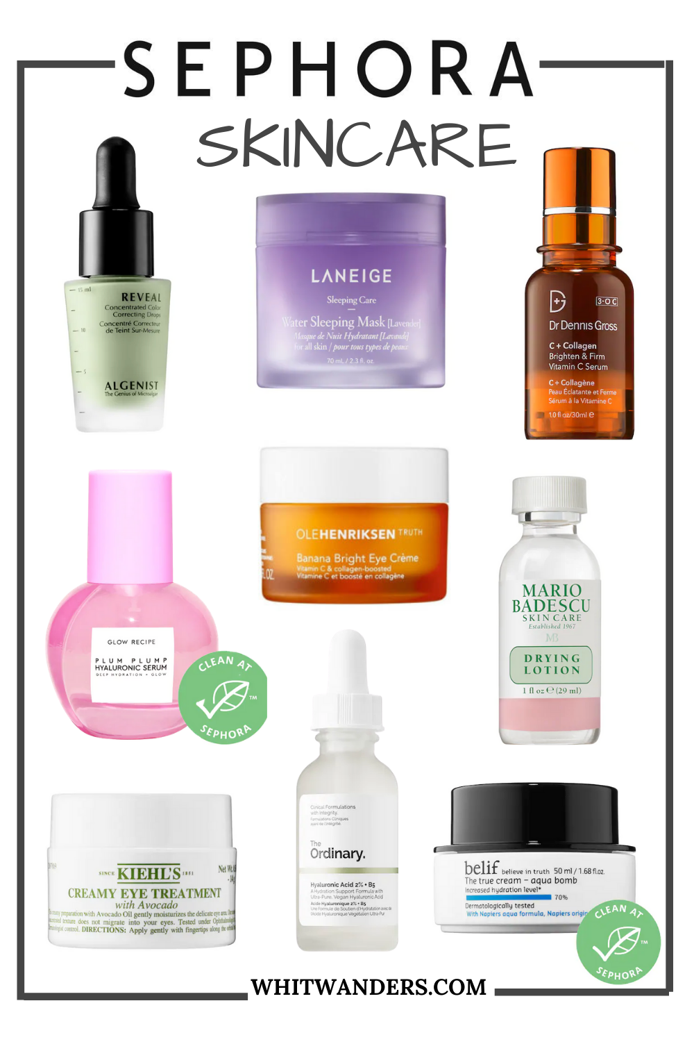 Sephora Beauty Insider Sale by popular Seattle beauty blog, Whit Wanders: collage image of Sephora skincare products.