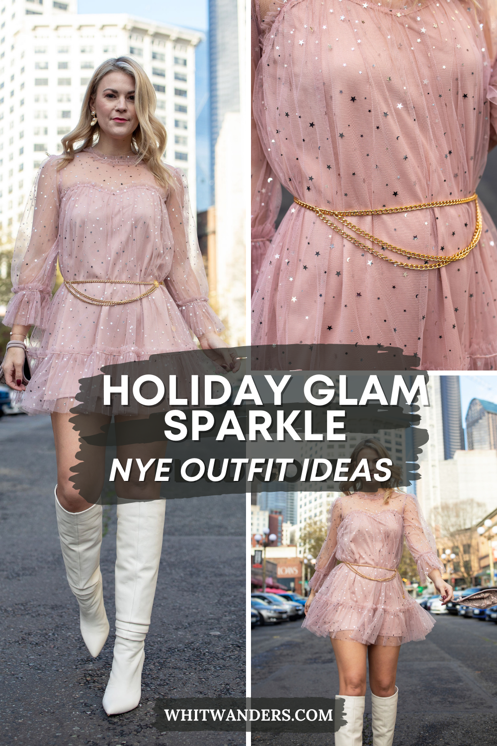 New Years Dresses by popular Seattle tall fashion blog, Whit Wanders: PInterest image of a woman waring white Steve Madden knee high boots, pink tull and silver star mini dress, gold chain belt, and pearl statement earrings.