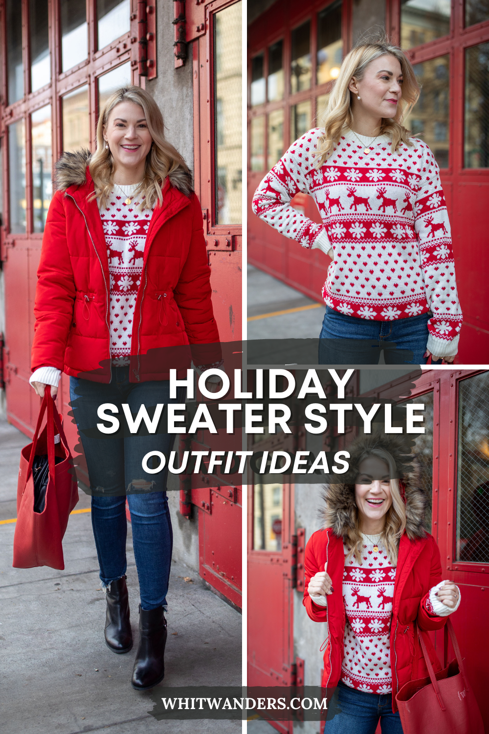 Red Puffer Jacket by popular Seattle tall fashion blog, Whit Wanders: Pinterest image of a woman standing in front of a red metal door and wearing a red puffer jacket, red and white holiday sweater, and jeans.