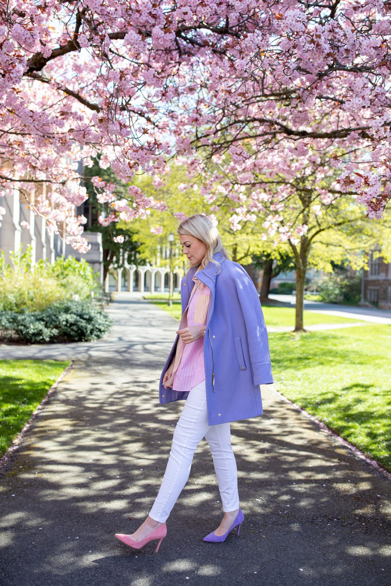 Purple Coat by popular Seattle tall fashion blog, Whit Wanders: image of a woman standing by a tree with pink cherry blossoms and wearing a purple coat, white pants, pink and purple suede heel shoes, and a oversized stripe shirt.